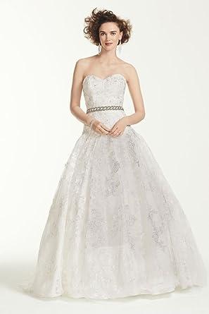 ef276b2b8690 Oleg Cassini All Over Lace Beaded Wedding Dress Style CWG633, White, 12 at Amazon  Women's Clothing store: