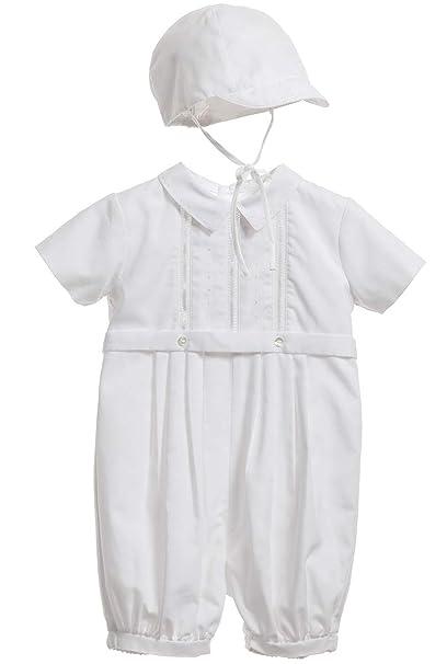 ShineGown - Ropa de Bautizo - Onesie - para bebé niño Blanco Blanco 3-6