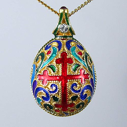 Traditional Russian Multicolor Cloisonne Enamel Sterling Silver Necklace Egg Cross and Double Headed Eagle Pendant Genuine Garnet Swarovski Crystal 24k Gold Plate -