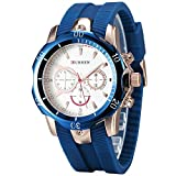 CURREN Men's Blue Rubber Strap Golden Sports Concise Style Leisure Quartz Wrist Watch (Fake Small Dial)