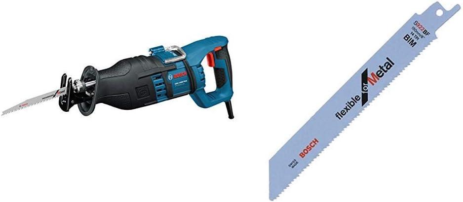 Bosch Professional 060164E200 Sierra sable 1300 W, 240 V, Negro, Azul, Rojo + Bosch 2 608 656 014 Pack de 5 hojas de sierra sable S 922 BF (bimetálica), Set de 5 Piezas