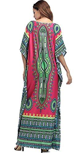 Amoretu Women Batwing Sleeve Casual African Floral Loose Maxi Long Dress