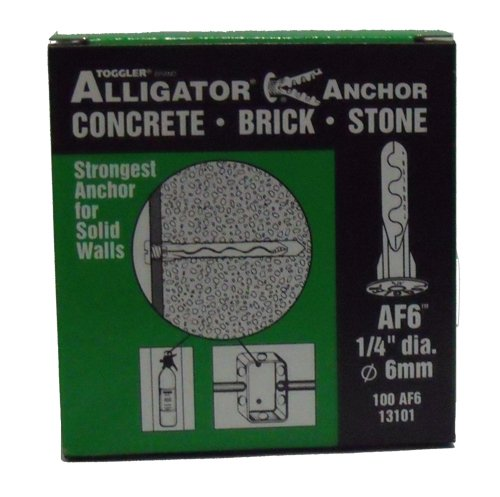 Toggler 13101 AF6 1/4'' Alligator All-Purpose Anchors w/flange - No screws 100 Pcs Per Package - $10.56