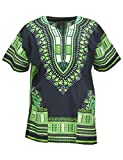 KlubKool Dashiki Shirt Tribal African Caftan Boho Unisex Top Shirt (Black/Green,Large)