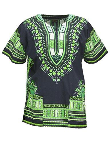 - KlubKool Dashiki Shirt Tribal African Caftan Boho Unisex Top Shirt (Black/Green,Large)