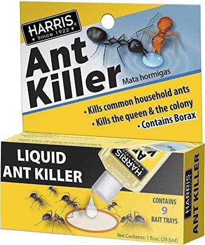 Harris Borax Liquid Ant Killer, 1oz - Includes 9 Bait Trays (1-Pack
