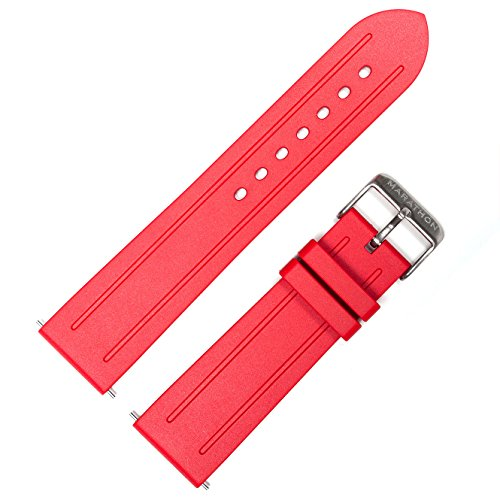 MARATHON WW005008RD 22mm Vulcanized Rubber Watch Band Strap in Red Made In Italy