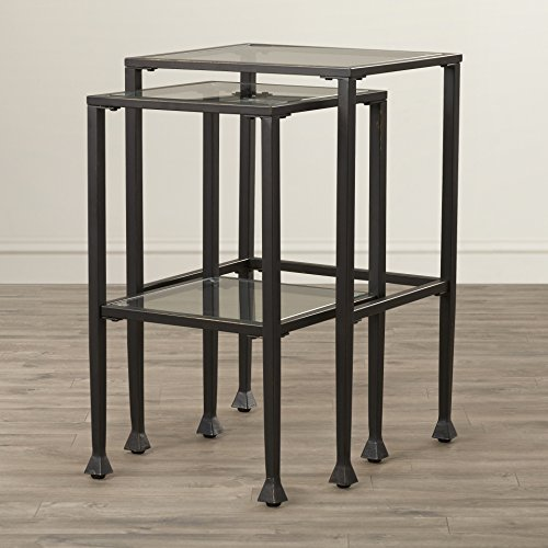 Sabrina Contemporary Style 2 Piece Square Nesting Table Set made with Metal and Glass in Clear and Black (Large Table) 24'' H x 17.75'' W x 14'' D in. (Small Table) 23.5'' H x 16'' W x 14'' D in. by Zipcode Design