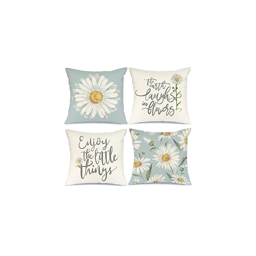 AENEY Pillow Covers 18x18 inch Set of 4 Daisy Decor Summer Decorations Sunflower Pillows Case Flower Blue Decorative…
