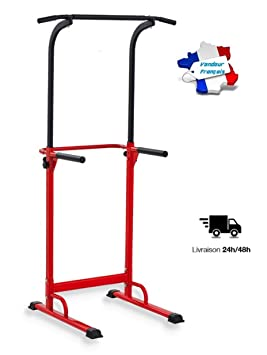 PullUp Fitness Barre De Traction Ajustable Station Musculation Dips Chaise Romaine Rouge
