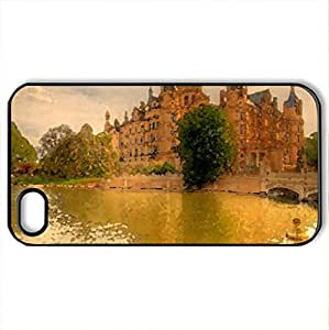 RIVERBANK CASTLE - Case Cover for iPhone 4 and 4s (Medieval Series, Watercolor style, Black) by icecream design
