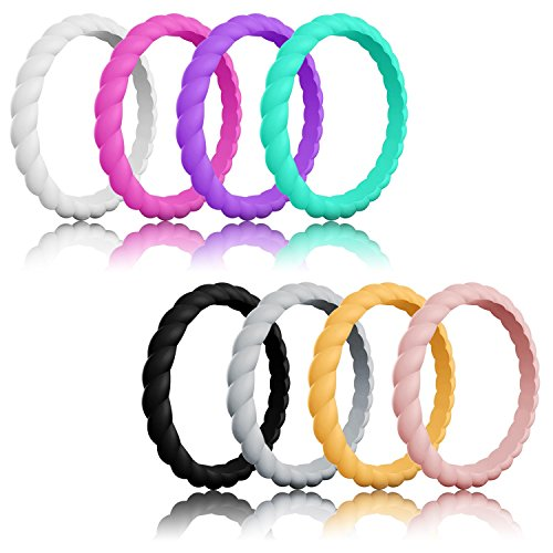 one Wedding Ring For women, Braided Thin and Stackable Durable Rubber Safe Band For Love, Couple, Souvenir and Outdoor Active Exercise Style ()