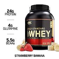 Polvo de proteína de suero de leche 100% estándar de Optimum Nutrition, plátano de fresa, 5 libras
