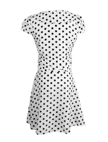 Allegra K Ladies Crossover V Neck Cap Sleeve Shirred Side Lining Dotted Dress