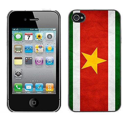 Omega Case PC Polycarbonate Cas Coque Drapeau - Apple iPhone 4 / 4S ( Suriname Grunge Flag )