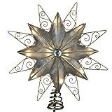 Kurt Adler 10-Light 8-Point Capiz Star with Wire Christmas Treetop, 9-Inch
