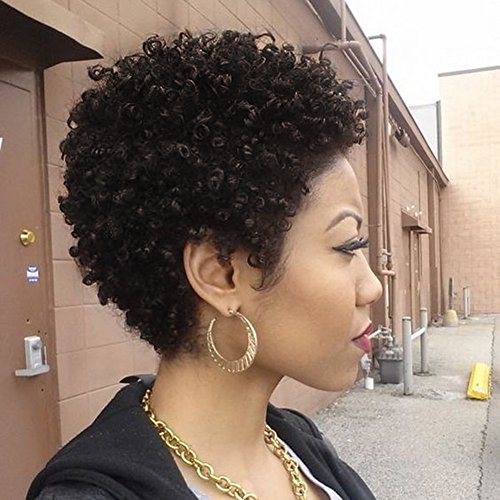 WIGNEE Remy Human Hair Afro Curly Short Style Wigs (2#) (Black Human Wigs Hair)