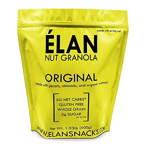 (ELAN Gluten Free Granola, Healthy Low Sugar Breakfast Cereal, Salt Free, Whole Grain, Non Gmo, Vegan Food (Pecan Almond Walnut, 1.33lb Bulk Bag))
