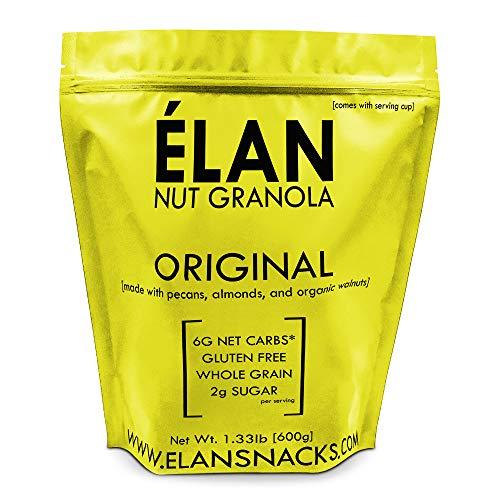 ELAN Gluten Free Granola, Healthy Low Sugar Breakfast Cereal, Salt Free, Whole Grain, Non Gmo, Vegan Food (Pecan Almond Walnut, 1.33lb Bulk Bag)