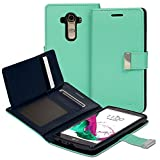 Vena LG G4 Wallet Case [vDiary] Chic Slim Tri-Fold Flip Cover PU Leather Wallet Case [Card Pockets & Stand] for LG G4 (Teal / Navy Blue)