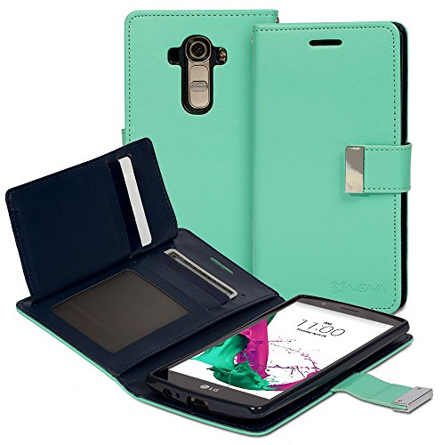 Vena Slim Tri-Fold Leather Wallet Case with Stand Flip Cover for LG G4, Teal / Navy Blue