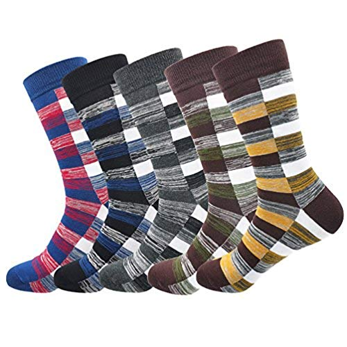 Mens Cotton Dress Socks Thick Vintage Stripe Pattern Socks Christmas Gifts Warm Winter Soft Knit Classics Formal Colorful Sock Comfy Breathable Casual Socks for Men 5 Pack Gift Box