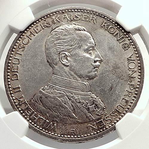 1913 DE 1913 PRUSSIA KINGDOM Germany WILHELM II AR 5 Mark 5 Mark AU 58 NGC