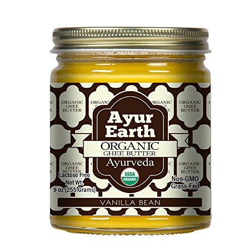 AYUR EARTH Original Grass-Fed Pasture Raised Non-GMO,Lactose Free,Certified Organic Ayurveda Ghee Butter. (Vanilla Bean Organic)