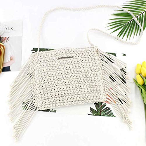 (Handmade Cotton Rope Hollow Out Woven Fringe Bag Trend Women's woven Handbag Straw Bag For Ladies - white with strap - A960 )