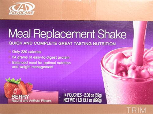 Advocare Meal Replacement Shake, Berry, Box of 14 Single Serve Pouches- (2.08 oz-each) by AdvoCare