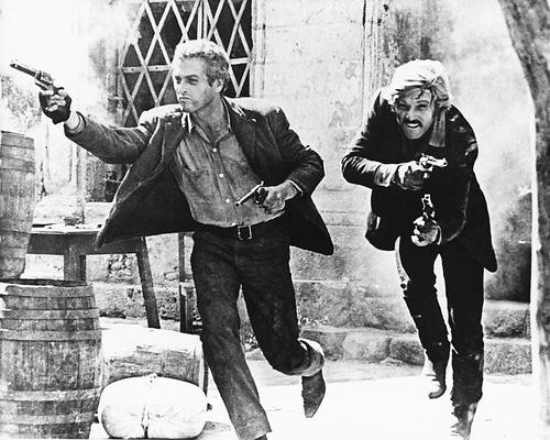 Butch Cassidy & The Sundance Kid Guns Blazing 11x14 HD Aluminum Wall Art (Real Butch Cassidy And The Sundance Kid Photos)