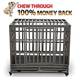 KELIXU 42″ Heavy Duty Dog Crate Strong Metal Pet Kennel Playpen with Two Prevent Escape Lock, Large Dogs Cage with Four Wheels,Black