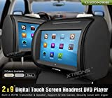 XTRONS-Black-2X-Twin-Car-headrest-DVD-player-9-HD-Touch-Screen-with-FM-Game-Disc-Mp3-IR-Headphones