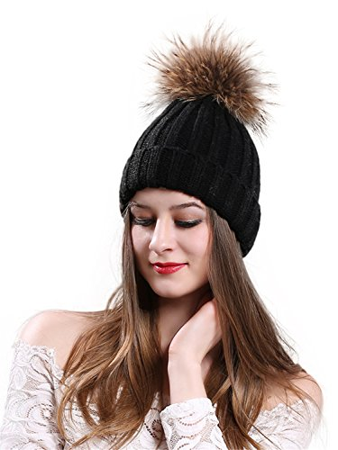 CHARLES RICHARDS CR Womens Winter Fur Hats Real Raccoon Fur Pom Pom Girls Knit Beanie ()