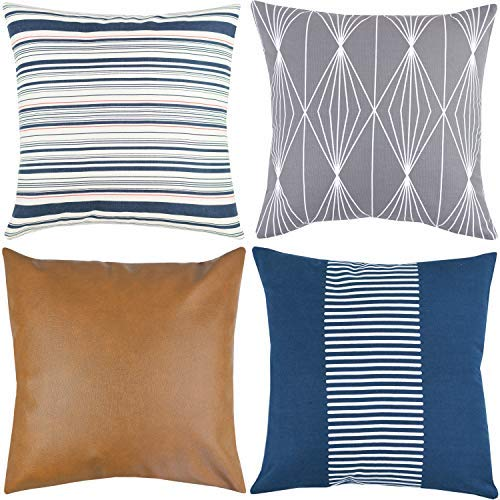 Navy Faux Leather - Woven Nook Decorative Throw Pillow Covers ONLY for Couch, Sofa, or Bed Set of 4 18 x 18 inch Modern Quality Design 100% Cotton Navy Stripes Geometric Faux Leather Finn Set