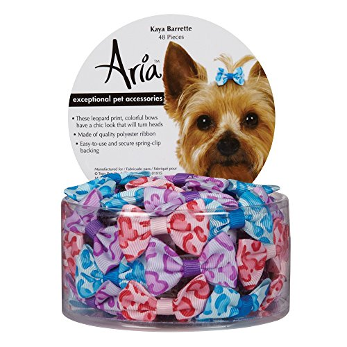 Aria Kaya Barrettes for Dogs, 48-Piece Canisters Dog Barrettes Canister