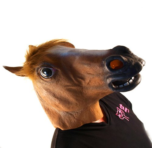 Startling Realistic Rubber Horse Head Mask with Fake Horse-Head Mane (Horse Mask Child)