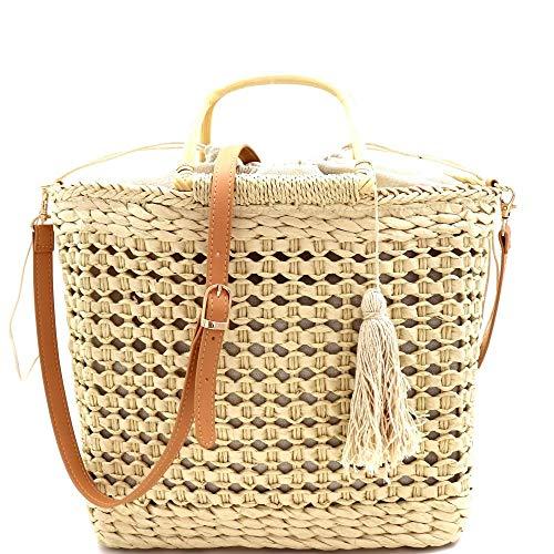 (Thread Tassel Natural Handwoven Straw Vegan Leather Bamboo Top-Handle Summer Beach Bali Bucket Basket Satchel Shoulder Bag )