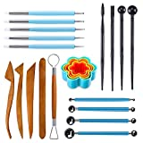 Caydo 23 Pieces Polymer Clay Tools Ball Stylus Dotting Tools for Pottery Sculpture with Flower Cutters, Clay...