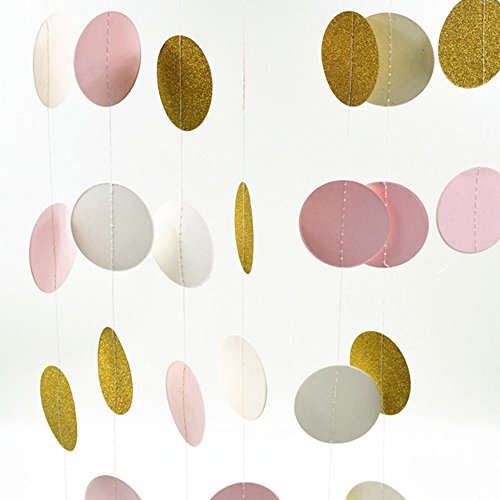 iMagitek-2-Pack-13-Feet-Long-Round-Paper-Garland-Assorted-Colors-Circle-Dots-Hanging-Decorations-Banners-for-Wedding-Bridal-Showers-Birthday-Party-Baby-Shower-Event-Party-Supplies
