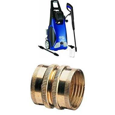 AR Blue Clean AR383 1,900 PSI 1.5 GPM 14 Amp Electric Pressure Washer with Hose Reel and Brass Pipe and Hose Fitting Bundle