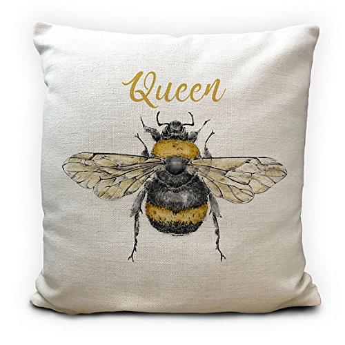 (Pillow Cover Bee Cushion Queen Bee - Honey Bumble Bee vintage Illustration artwork - Home Decor)