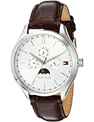 Tommy Hilfiger Mens OLIVER Quartz Stainless Steel and Leather Casual Watch, Color:Brown (Model: 1791304)