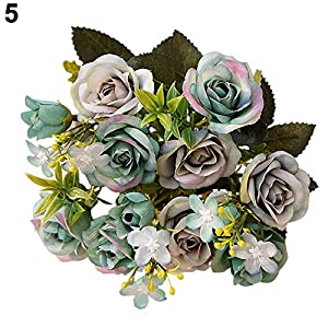 YHCWJZP 1 Bouquet 15 Heads European Style Artificial Royal Rose Home Room Decor Flowers - Grey Blue 37