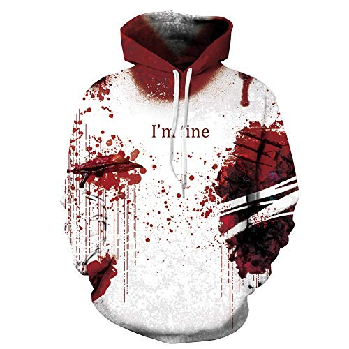 AiTrip Unisex 3D Digital Print Casual Hoodies Pullover Hooded Sweatshirts Long Sleeve Fall Tops with Pockets Pullover Tops - Red bloodstain -