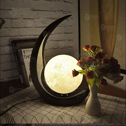 LED Table Lamp 3D Stereo Moon Simple Style Bedroom Living Room Bedside Lamp Creative Decorative Lights , b