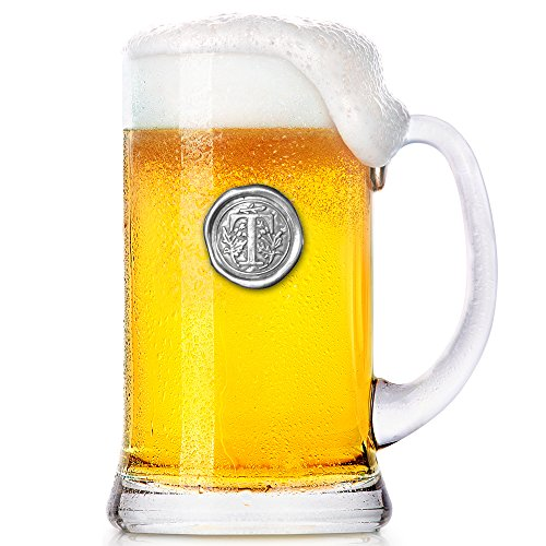 (English Pewter Company 1 Pint Monogram Initial Beer Mug Glass Tankard - Unique Gifts For Men - Personalized Gift With Your Choice Of Initial (T) [MON020] )