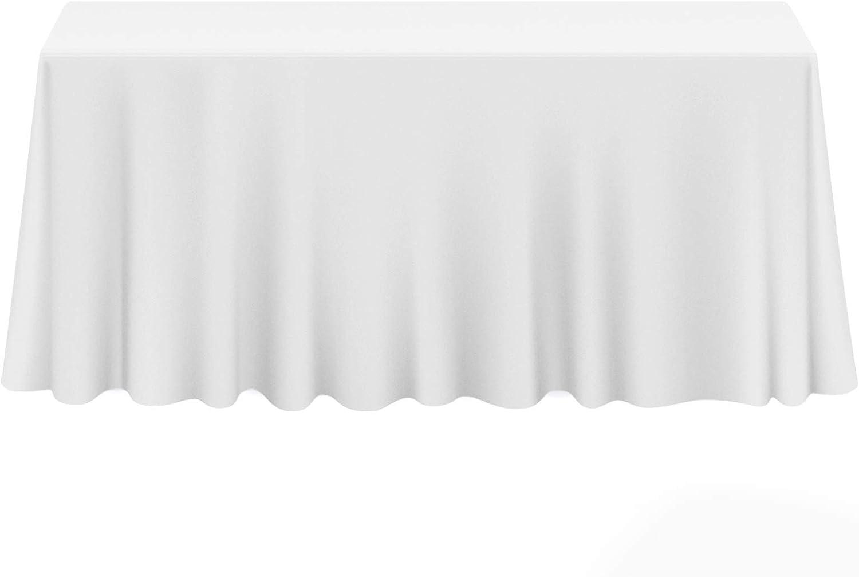 "Lann's Linens - 90"" x 132"" Premium Tablecloth for Wedding/Banquet/Restaurant - Rectangular Polyester Fabric Table Cloth - White: Home & Kitchen"