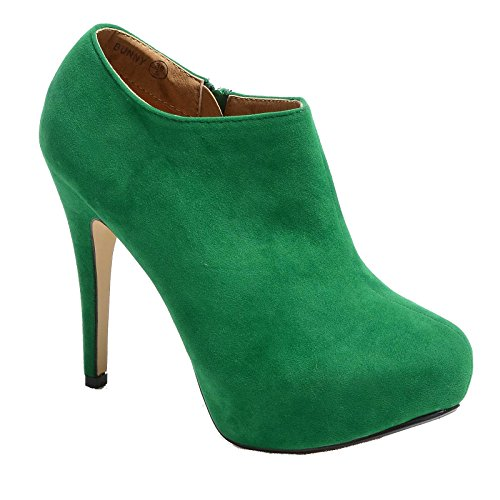 WOMENS LADIES CONCEALED PLATFORM ANKLE BOOTS HIGH HEEL STILETTO SHOES Green Suede zEQcTOKkGG