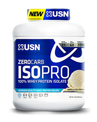 USN Zero Carb ISO Pro 100 Percent Whey Protein Isolate, 4 Pounds, Vanilla ()